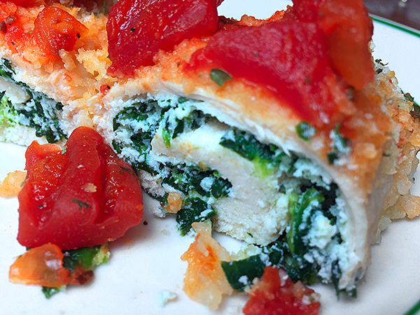 Recipe for spinach and ricotta stuffed chicken breast