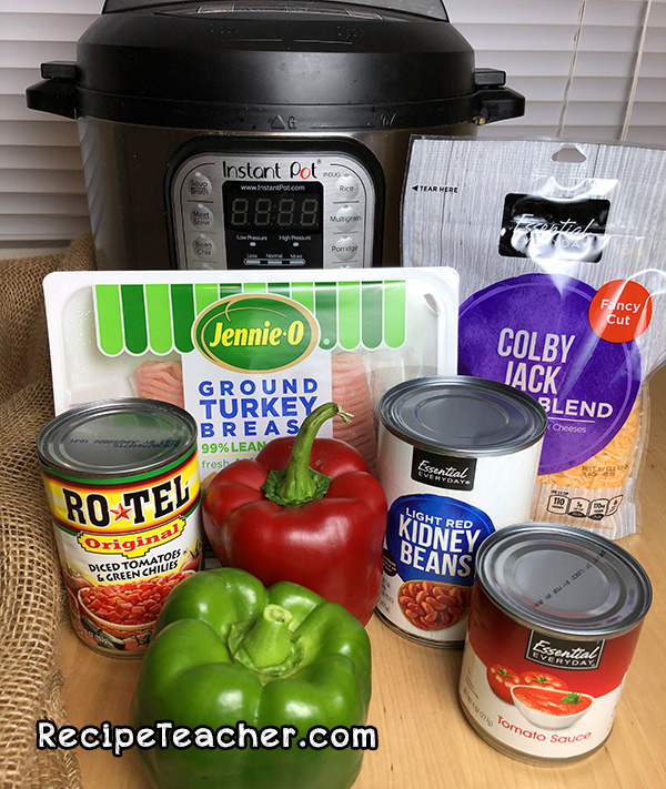 ingredients for Instant Pot turkey chili
