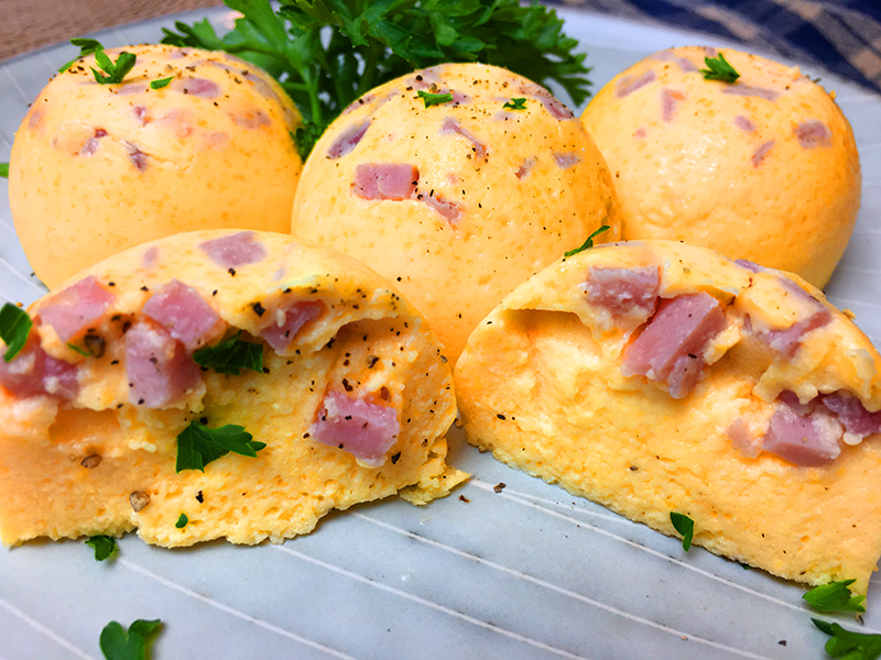 Egg bites made with diced ham and cheddar cheese