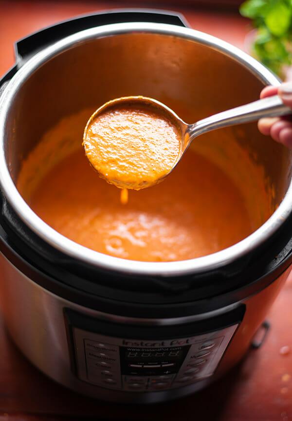 Recipe for Instant Pot Creamy Tomato Basil Soup using Greek yogurt