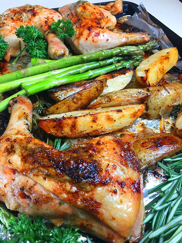 Best Damn Sheet Pan Balsamic And Rosemary Chicken Quarters With