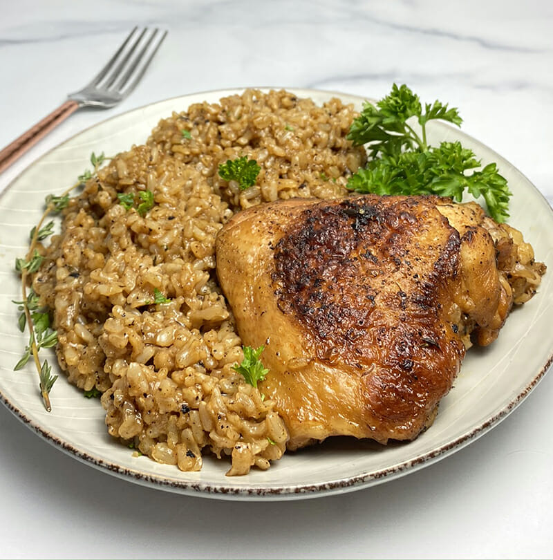 recipe for Instant Pot chicken thighs and brown rice