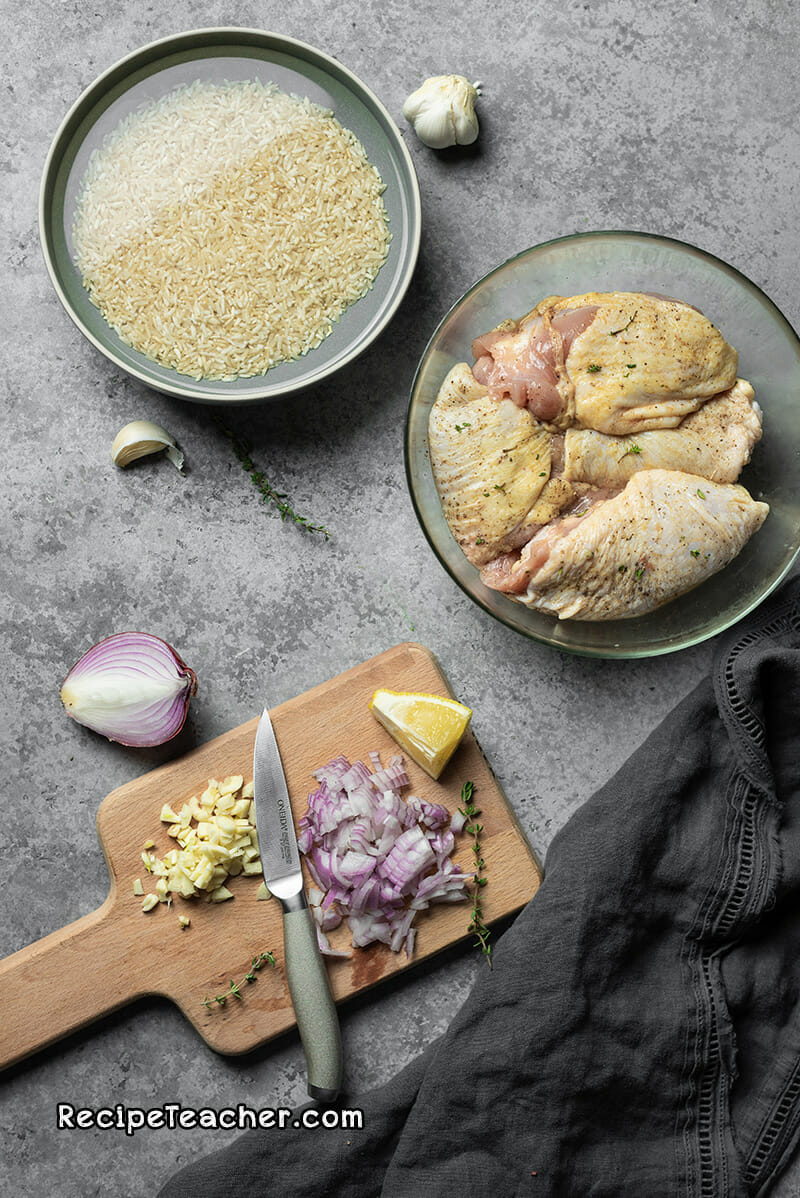 ingredients for Instant Pot chicken thighs and brown rice