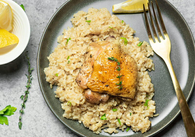 recipe for instant pot chicken thighs with brown rice.