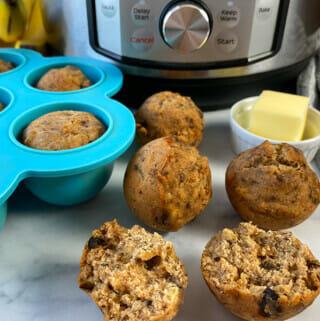 Recipe for Instant Pot banana bread bites.