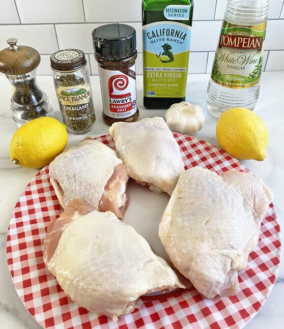Ingredients for air fryer Greek chicken recipe