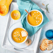 Recipe for Instant Pot butternut squash and sweet potato soup.