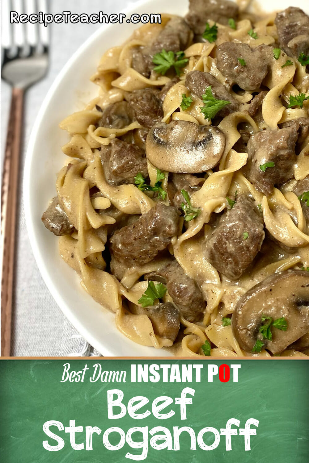 Beef stroganoff cooked to perfection in an Instant Pot