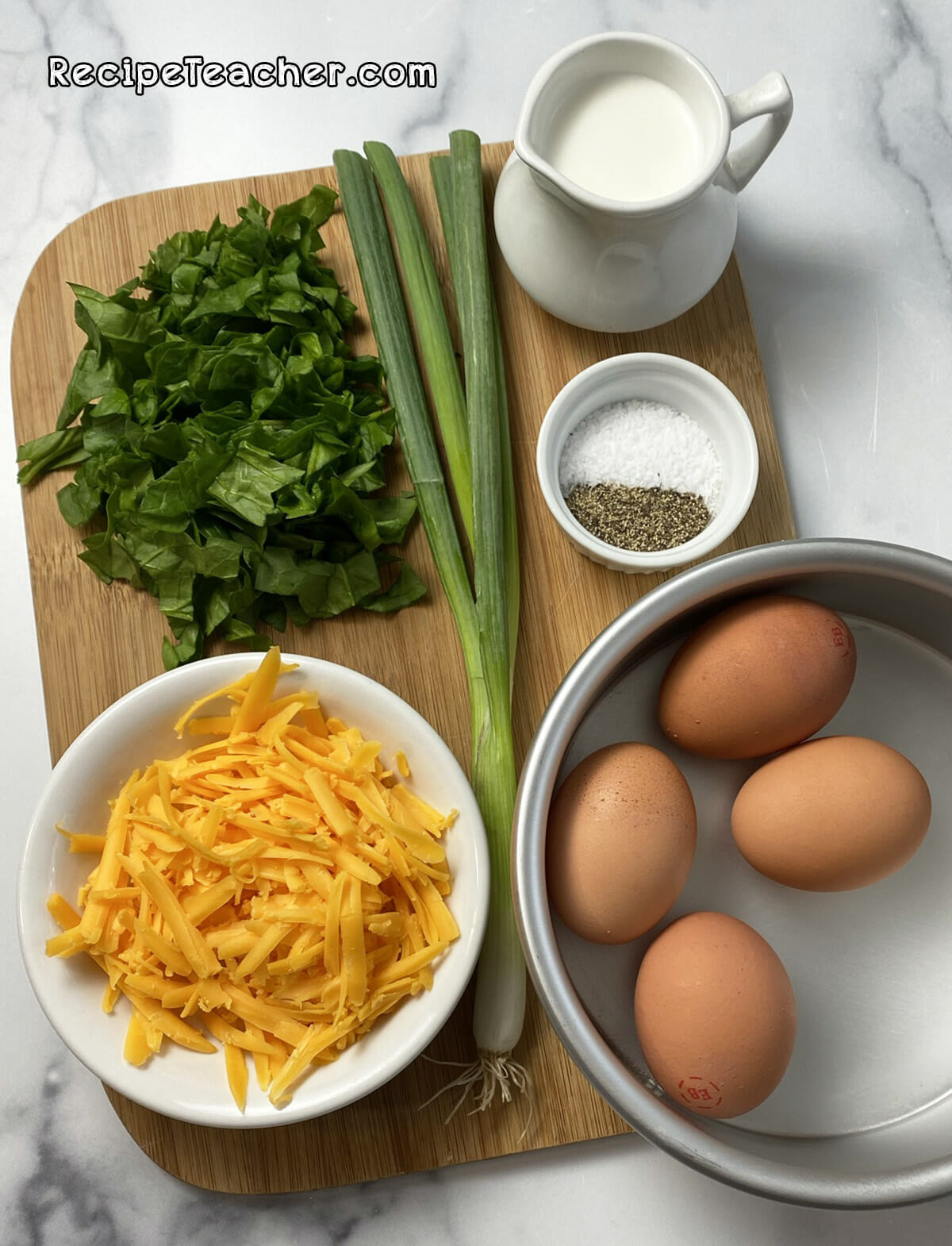 Ingredients for an air fryer breakfast frittata
