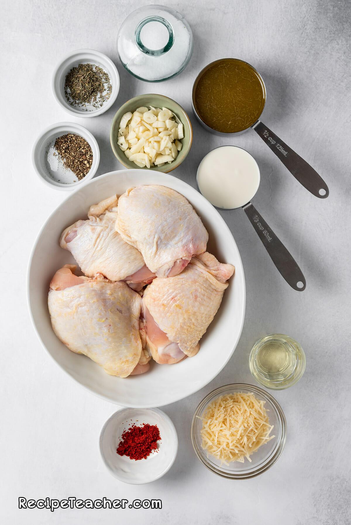 Ingredients for Instant Pot creamy garlic chicken thighs recipe.