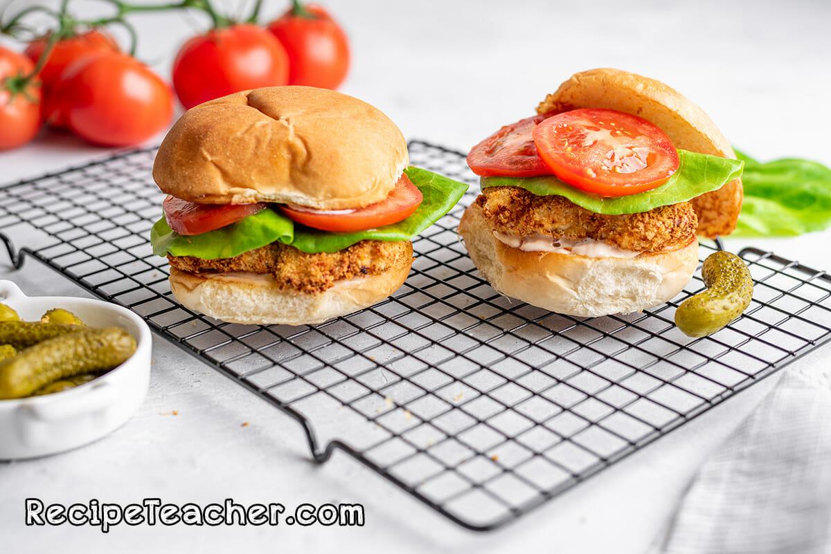 Buttermilk chicken sandwich made in an air fryer