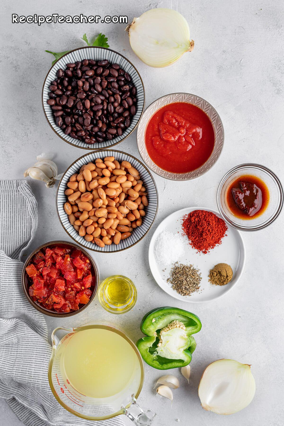 Ingredients for unbelievable Instant Pot vegetarian chili