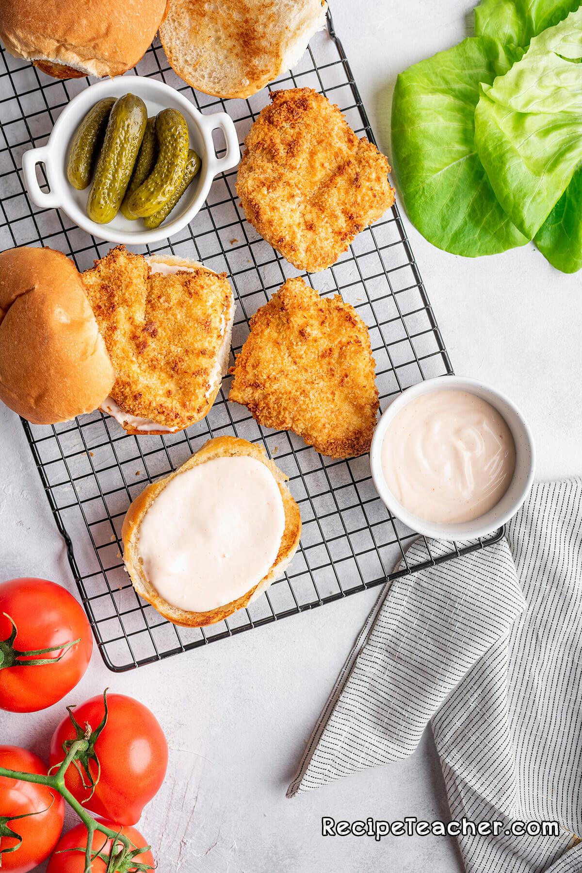 Air fryer buttermilk spicy chicken sandwich