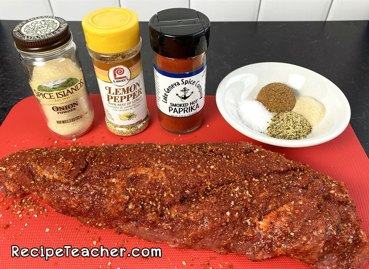 All the ingredients for air fryer sweet and spicy pork tenderloin.