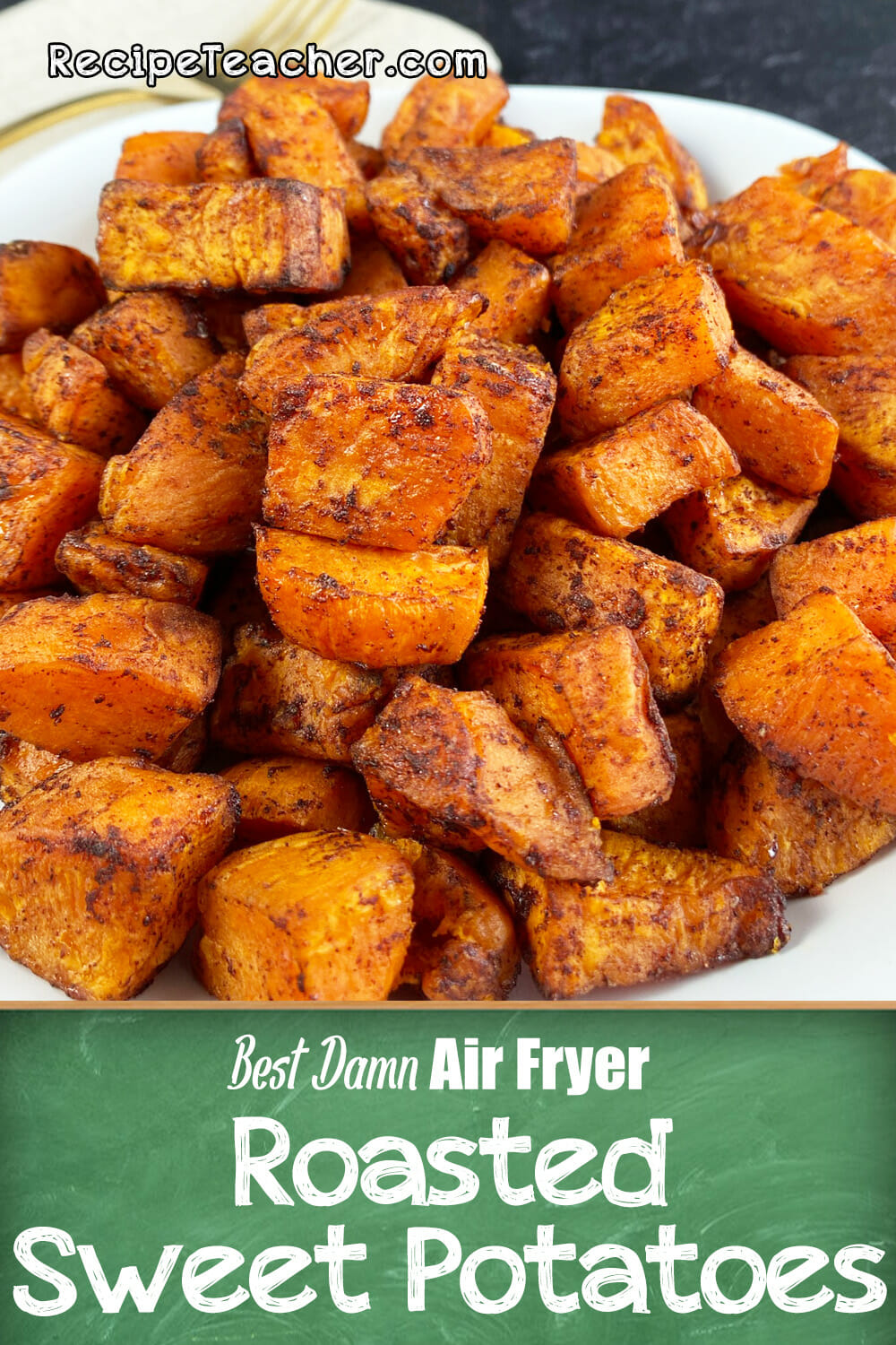 Recipe for roasted air fryer sweet potatoes.