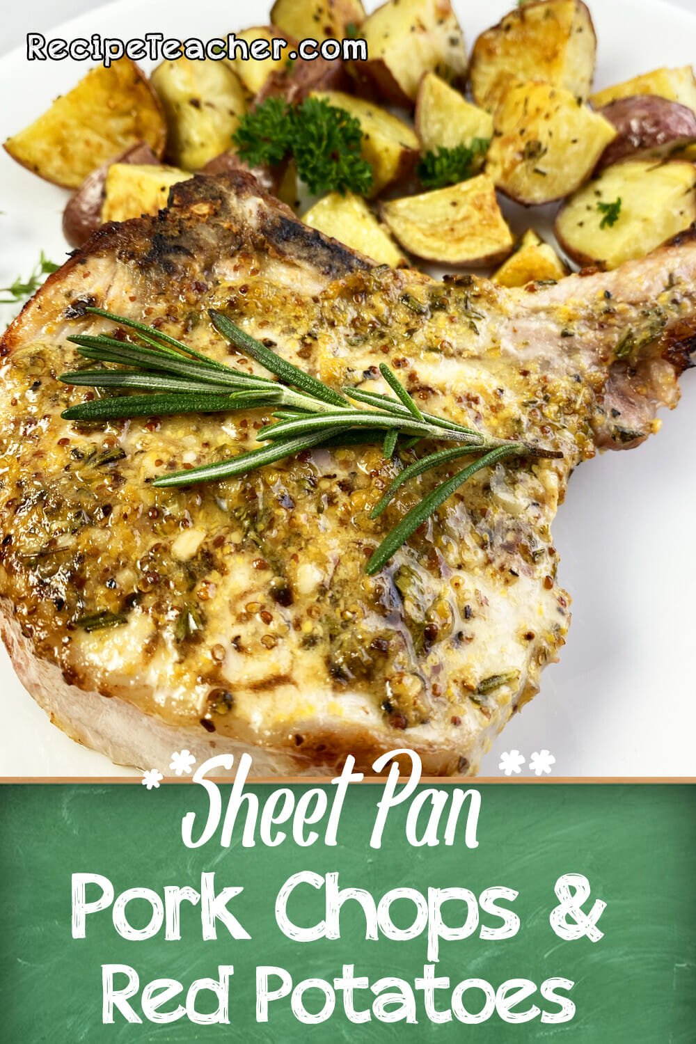 Recipe for sheet pan pork chops and baby red potatoes