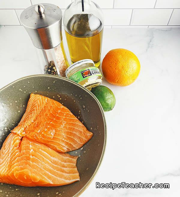 Ingredients for air fryer citrus garlic salmon.