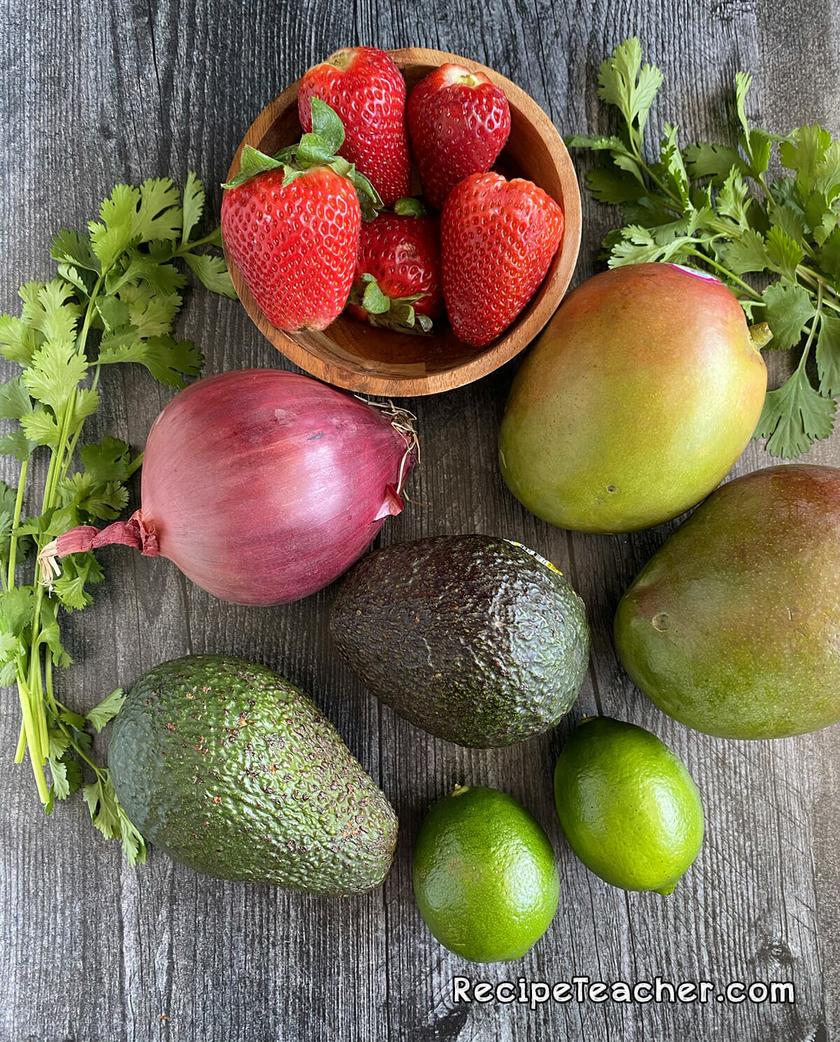 Ingredients for sweet and chunky mango salsa