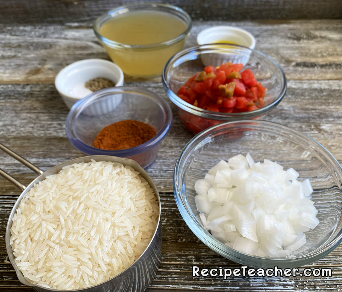 All the ingredients for Instant Pot Spanish rice.