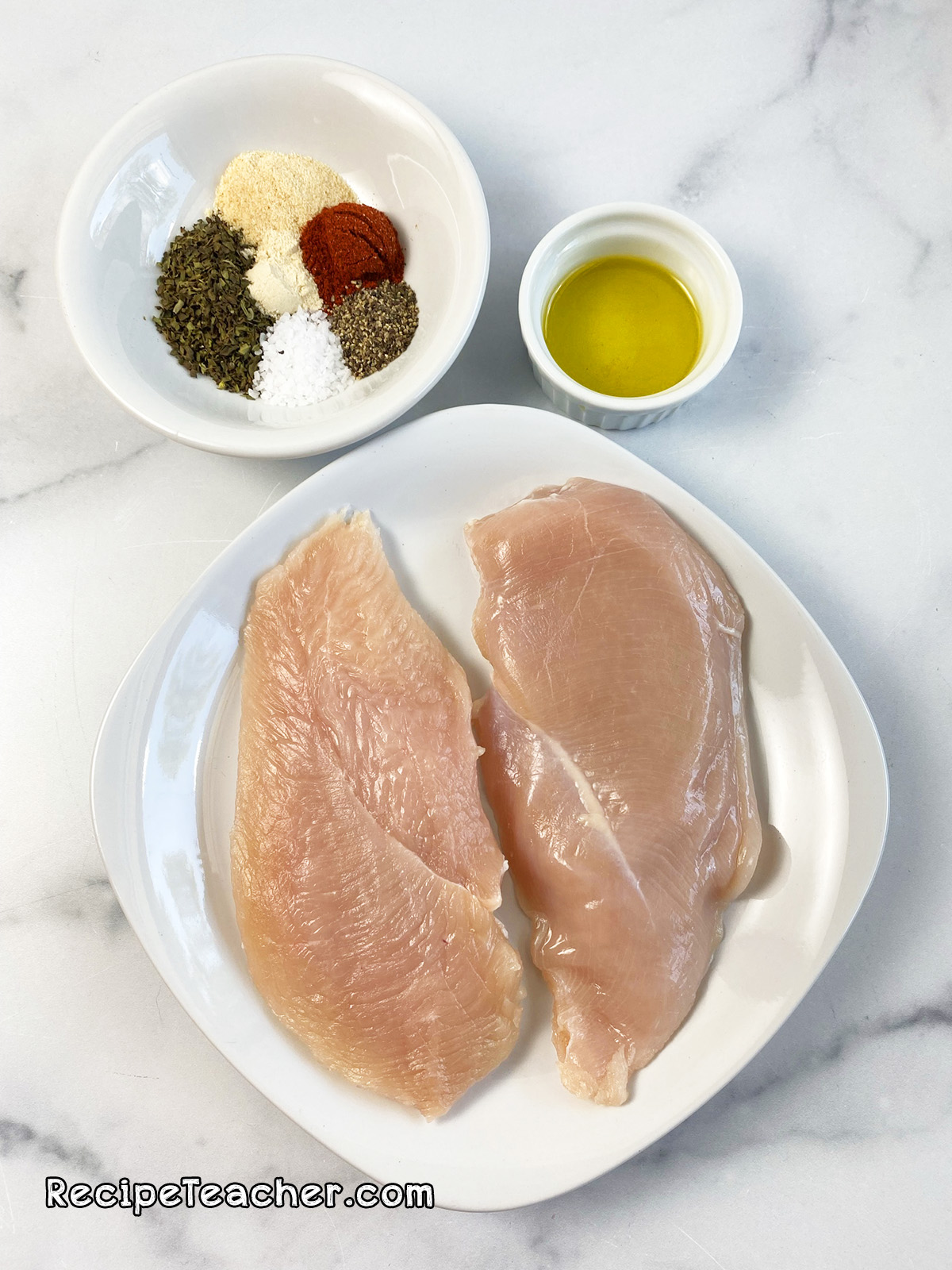 All the ingredients for George Foreman Grill chicken breasts