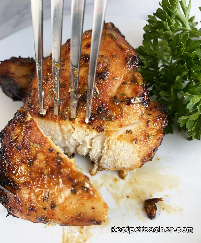 Delicious air fryer boneless, skinless chicken thighs.