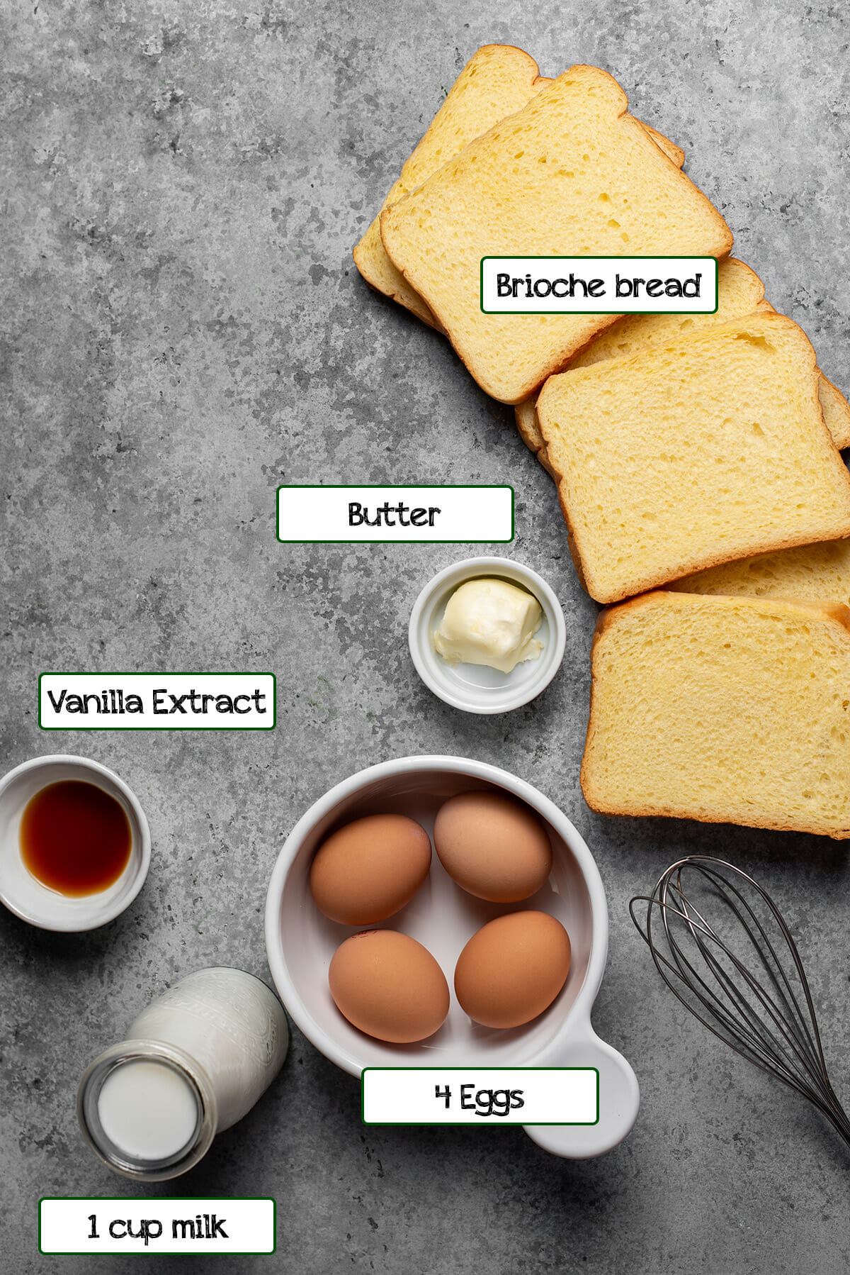 All the ingredients to make French toast including bread, eggs, vanilla extract, milk and butter